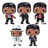 ZXCL 5 Piezas Pop Michael Jackson Figuras Colección De Vinilo Decoración Modelo Juguetes Beat It Billie Jean Figura De Acción Juguetes para Niños