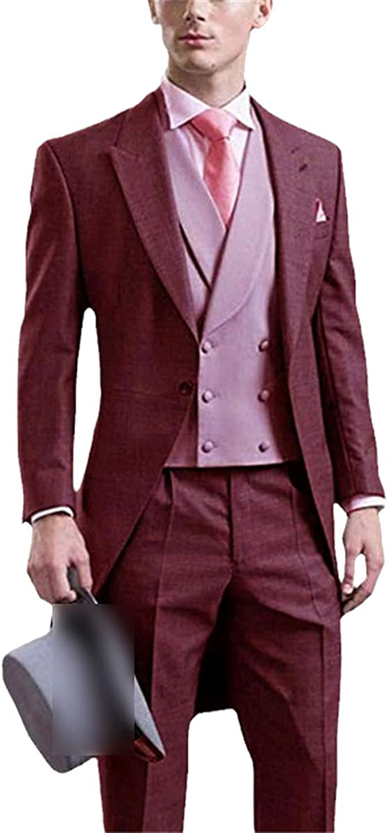 Gentleman Men's Suit Classic Western Slim Lapel Suit Groom Clothing Men's Jacket + Vest + Pants