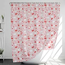 INNObeta Fabric Shower Curtain with 12 Hooks, Water-Repellent/Waterproof, Heavy-Duty, No Liner Needed, Bathroom Decor, 72 x 72 Inches, Pink, Red, White, Geometry