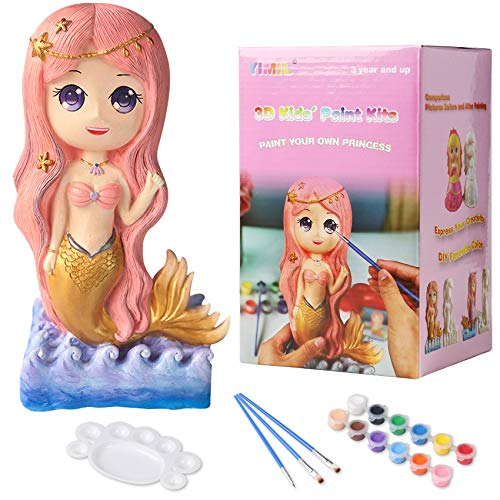 YIMIL Paint Your Own Mermaid Painting Kit, Mermaid Craft Kit for Kid (Non Ceramic & Non Fragile), Kids Arts and Crafts for Girls, Piggy Banks Craft Supplies Birthday Gift (Mermaid)