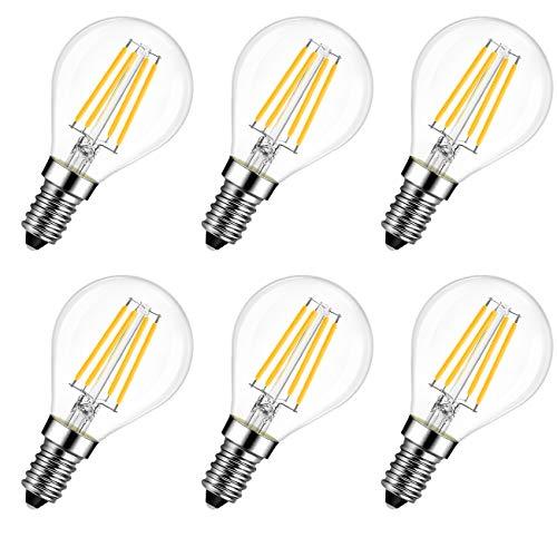 LVWIT E14 LED Lampe P45, Tropfenform, 6W (ersetzt 60W), 2700K warmweiß, 6er-Pack, Filament Mini Globe, ultrahell 806 lm, Rustikalampe Filamentstil klar, nicht dimmbar