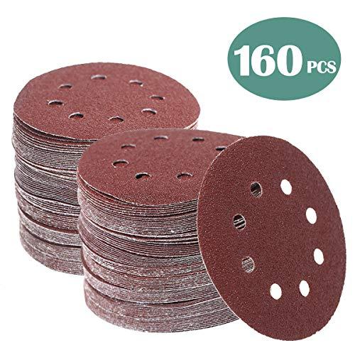 160 Pcs 5 Inch Sanding Discs Hook and Loop Orbital Sander Sandpaper 40 60 80 100 120 150 240 320 400 600 Grit 8 Hole Sanding Discs (160 PCS, 40-600 GRIT) (160 PCS, 40-600 GRIT)