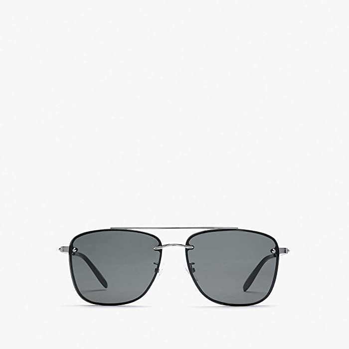 Alexander McQueen  AM0184SK (Shiny Light Ruthenium/Grey) Fashion Sunglasses