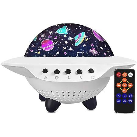 Lampada Proiettore Stelle Bambini,LETOUR UFO Luce Notturna Bambini pellicola 9 colori, altoparlante Bluetooth musicale con timer per la cameretta dei bambini e la decorazione della casa