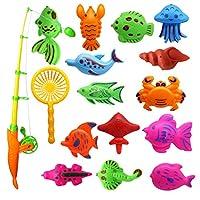 Bageek 16本の子供釣りゲームセット磁気教育釣りおもちゃのプールのおもちゃ水のおもちゃセット