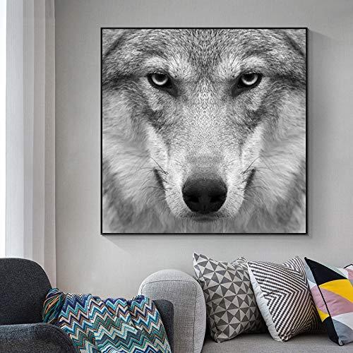 wZUN Carteles e Impresiones de Animales Lienzo Pintura Arte de la Pared Abstracto Lobo Cuadros de Pared para la decoración del hogar de la Sala de Estar 60x60 Sin Marco