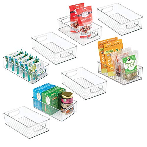 mDesign Plastic Kitchen Pantry Cabinet, Refrigerator or Freezer Food Storage Bins with Handles