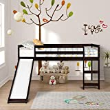 Twin Loft Bed with Slide for Kids, Wood Low Sturdy Loft Bed, No Box Spring Needed, Espresso