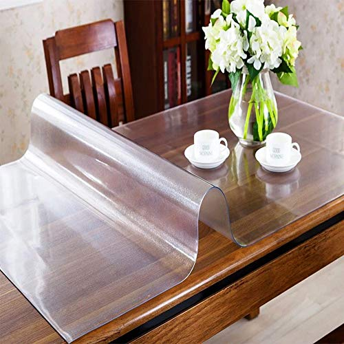 OstepDecor Custom 1.5mm Thick Frosted Plastic Table Cover Protector Desk Pad for Glass Top Coffee End Dining Table Multi-Size | Rectangular 31.5 x 60 Inches