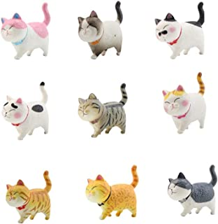 動物フィギュア 猫 二代 9個 模型 子猫おもちゃセット 白い ミニおもちゃ モデル ピンク ネコ フィギュア 誕生日 パーティー小物