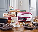 Tefal Cake Factory KD801840 Precision Baking Machine with Silicone Moulds for Chocolate Molten Cakes, Cupcakes and Desserts, White/Pink