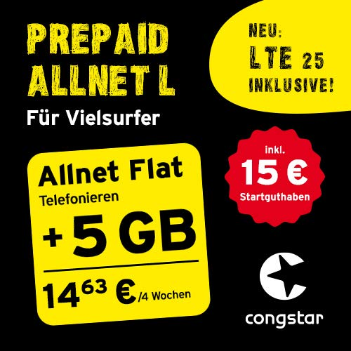 congstar Prepaid Allnet L Paket [SIM, Micro-SIM und Nano-SIM] – Das Prepaid-Paket für Vielsurfer in guter D-Netz-Qualität