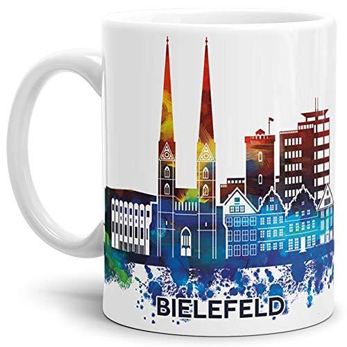 Tassendruck Bielefeld-Tasse Skyline - Kaffeetasse/Souvenir/Silhouette/Städte-Tasse/Cup/Mug/Becher/Beste Qualität - 25 Jahre Erfahrung - Weiss