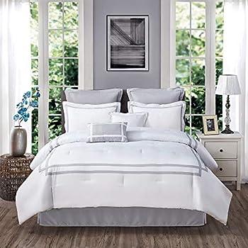 SHALALA NEW YORK Chic 8-Piece Hotel Comforter Set - Hypoallergenic Bedding Set Bed Skirt Pillow Shams Decorative Pillows - Modern Quilt Set for All Seasons  White King