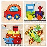 Georgie Porgy 4pcs Rompecabezas de Madera, Rompecabezas Animales de Madera para Juguetes Educativos Regalos de Cumpleaños para Niños de 18 Meses+ (Transporte)
