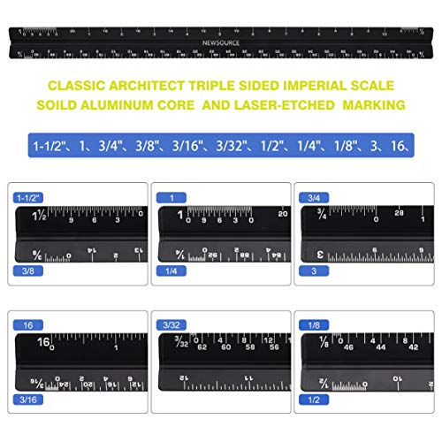 Architect Scale Ruler,Architecture Scale Ruler Set,Drawing Tools for Drafting with Scale, Metal Rulers of Solid Aluminum with Erasing Shield. Compass with Lock. Laser-Etched Ruler for Blueprint Photo #6