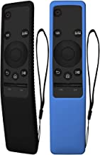 TOLUOHU 2PCS Silicone Protective Case for Samsung Smart TV Remote Controller BN59 Series, Light Weight Kids-Friendly Silicone Cover Anti-Slip Shockproof Anti-Lost with Hand Strap (Black+Blue)