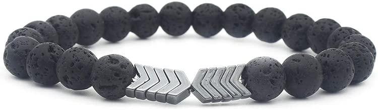 Men Women 8mm Lava Rock Hematite Diffuser Bracelet Elastic Natural Stone Yoga Beads Bracelet Bangle