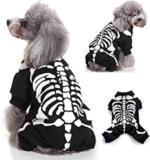Lotiang Halloween Costumes Pet Dogs Cats Outfit Skeleton Dress Up Clothes Vest T-Shirt Coat Hoodies