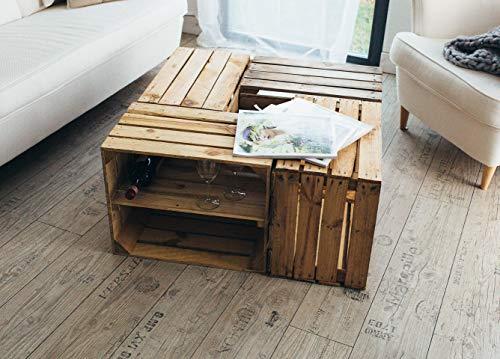 Teramico 4-delige set houten kisten vintage gebruikt 50 x 40 x 30 cm - massief en stabiel - ideaal als rek voor wijn/schoenen/boeken, salontafel 50 x 40 x 30cm 2 x Boden Längs