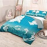 HELLOLEON Nautical paquete de 3 (1 funda de edredón y 2 fundas de almohada) ropa de cama espumosa con nubes mullidas en el aire, sol, verano, mar, poliéster, (2 camas), azul cielo, blanco y turquesa