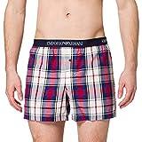 Emporio Armani Underwear Boxer Yarn Dyed Woven, Chec.Cream/Poppy/Mar, L para Hombre