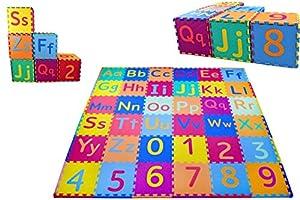 KC Cubs Soft & Safe Non-Toxic Children's Interlocking Multicolor Exercise Puzzle Educational ABC Alphabet EVA Play Foam Mat for Kid's Floor & Baby Nursery Room, 36 Tiles, 9 Colors, 54 Borders (EVA003)