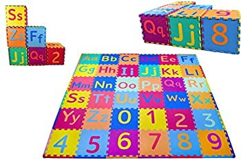 KC Cubs Soft & Safe Non-Toxic Children's Interlocking Multicolor Exercise Puzzle Educational ABC Alphabet EVA Play Foam Mat for Kid's Floor & Baby Nursery Room 36 Tiles 9 Colors 54 Borders  EVA003