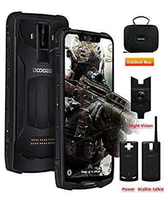 Rugged Mobile Phone Unlocked, DOOGEE S90 Pro Android 9.0 Tough Smartphone Outdoor, 6+128GB, 6.18 inch FHD Screen, IP68 Waterproof, 16+8MP AI Camera/5050mAh+5000mAh(Power Mod)/GPS/NFC/Wireless Charge