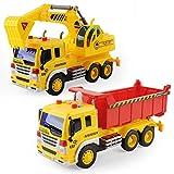 GizmoVine Jouet Excavator Dumper Truck Inertiels 1/16 Camion Benne et Camion Pelleteuse Enfants Friction Drive avec LED et Son Alliage Noël Halloween Cadeau 2 pcs