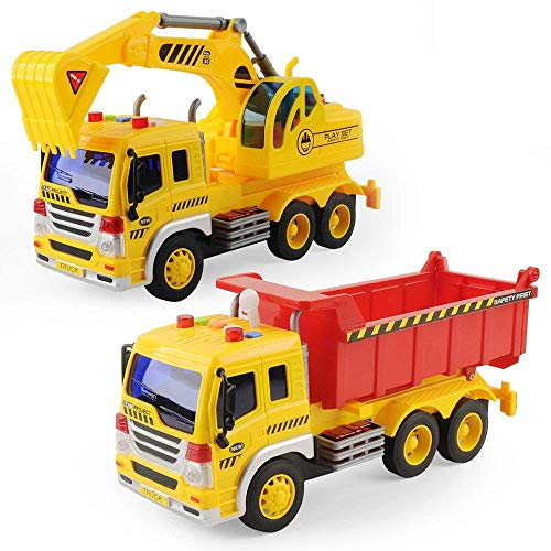 Baby Spielzeug für 2 Jahre alten Jungen Reibung Gefahren LKW Fahrzeug Mit Lichtern und Tönen, Früh Bildung Auto Spielzeug Trägheit Fahrzeuge Für Kinder und Kleinkinder (2 Pieces Großer Kipper)