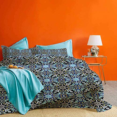 prunushome Moroccan Bed Set Bohemian Arabic Pattern with Interlacing Lines Historical Roman Influences Best Hotel Luxury Bedding Royal Blue 3 Pieces (1 Duvet Cover and 2 Pillow Shams) Twin Size