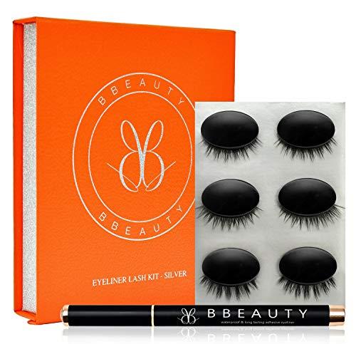 BBeauty® Künstliche Wimpern mit klebendem Eyeliner Stift (3er Set) – Natürlicher Look durch...