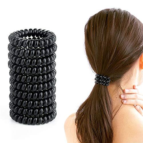 Wodasi Haargummi Telefonkabel, 10er Set Spiral Haargummis Telefonkabel Spiralhaargummi, Telefonkabel Haargummi Elastisch Haarband für Mädchen Frauen Haarschmuck, Schwarz