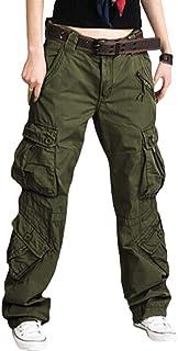 Mujer Pantalones Cargo Multi-Bolsillo Suelto Pantalones Combat Cintura Alta Color Sólido Pantalones da Trekking Comodo Tra...