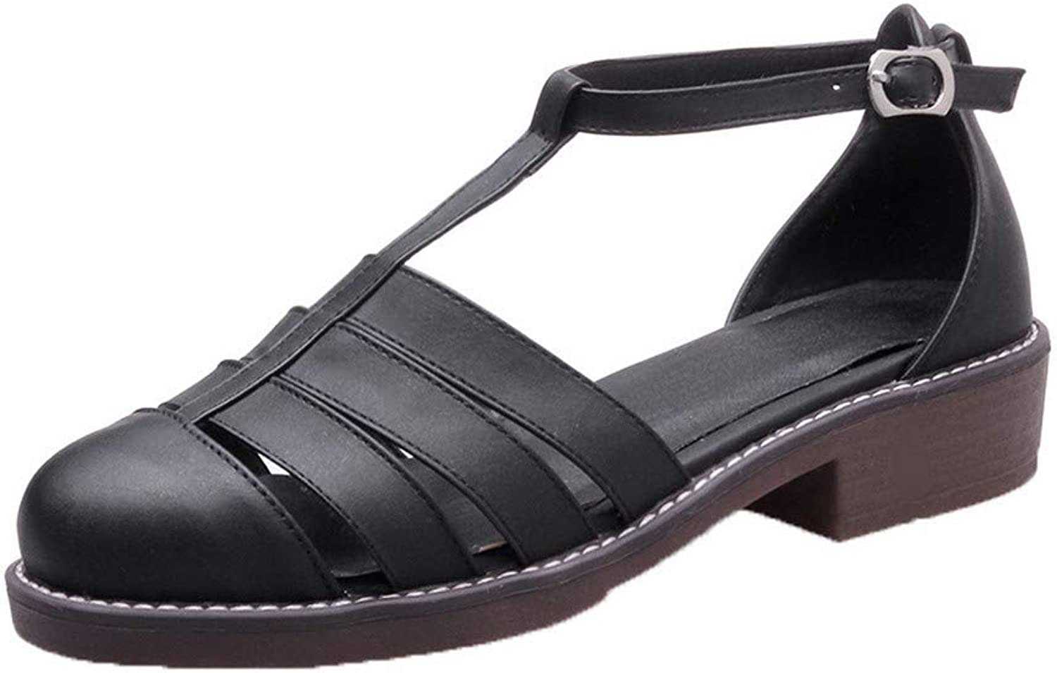 WeiPoot Women's Buckle Low-Heels Pu Solid Round-Toe Sandals, EGHLH007586