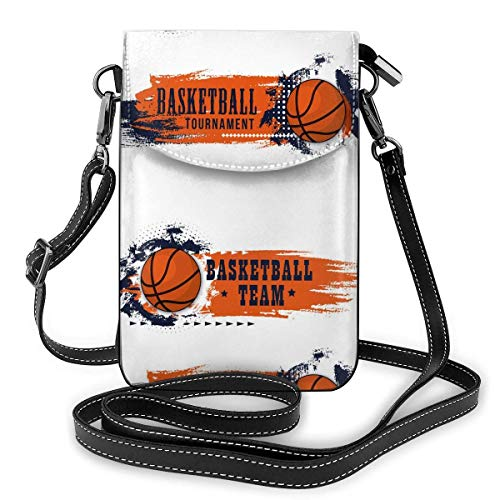 Lawenp Leather Phone Purse, Basketball Sport Game Small Crossbody Bag Mini Cell Phone Pouch Shoulder Bag For Women