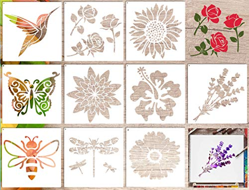 10 Pieces Stencils for Painting on Wood Wall Canvas,Nature Home Decor,Kids Large Pattern Flower Hummingbird Butterfly Stencils Reusable for Paint Drawing Craft DIY (9 x 9 Inch)