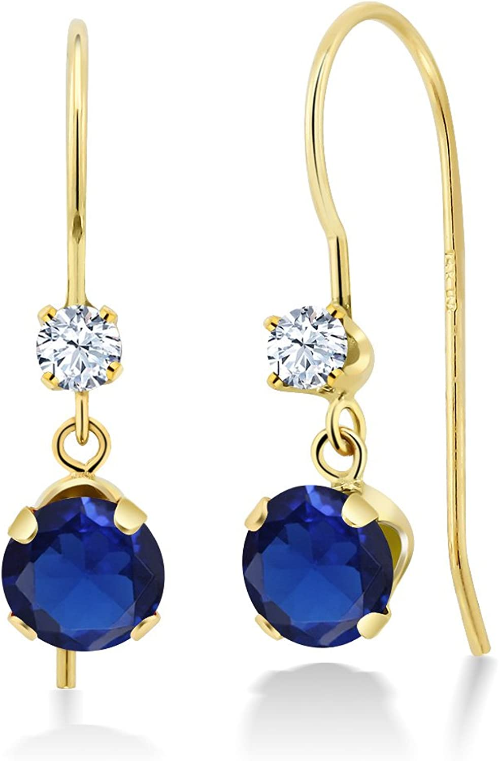 1.20 Ct Round bluee Simulated Sapphire 14K Yellow gold Earrings
