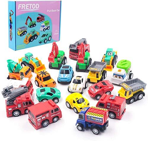 FRETOD Tirare Indietro Veicoli ha Giunti Flessibili 20 Pezzi Avere Camion da Costruzione, Camion dei Pompieri, Auto da Corsa Auto Tirare Indietro Veicoli