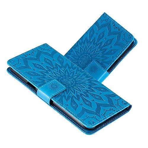 IMEIKONST Compatible con Moto E6 Plus Funda Mandala En Relieve PU Cuero Premium Carcasa Flip Tarjeta Billetera Magnetic Soporte Caso para Motorola Moto E6 Plus Sunflower Blue KT