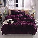Soukach Shaggy Fluffy Queen Duvet Cover Set,3 PCS Faux Fur Bedding,1 Fuzzy Duvet Cover +2 Furry Crystal Velvet Pillow Case,Luxury Long Fleece Decorative for Bed Room(Plum Purple, Queen)