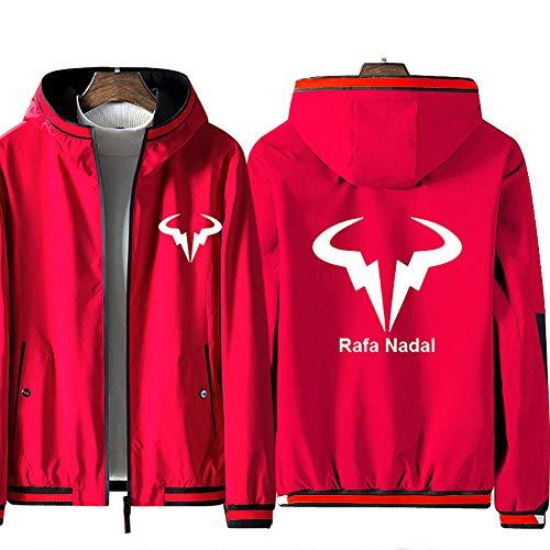 73HA73 Felpa da Uomo con Cappuccio e Zip Tennis Grand Slam Rafael Nadal Jacket ATP No.1 Manica Lunga Confortevole Sweatshirt Unisex Giacca (No Shirt),Red,M(160-168cm)