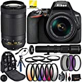 Nikon D3500 DSLR Camera with 18-55mm Lens, 70-300mm Lens(#1588), 500mm Telephoto Lens, and T Mount Adapter w/Professional Bundle; Includes: 3pc UV Filter Kit, Professional Camera Bag, and More