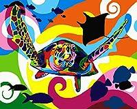 デジタル インテリア キャンバスの油絵子供 デジタル油絵 数字キッ アートグラフィティ装飾カスタムギフト 40x50センチ-漫画のカメ_額装