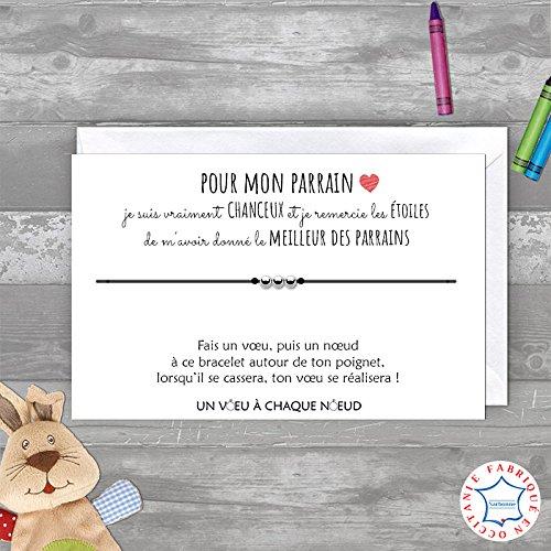 UVACN Carte de voeux FILLEUL pour Mon Parrain + Bracelet Porte-Bonheur 3 Billes INOX + enveloppe - Fabriqué en France - Idée Cadeau Parrain - Anniversaire, Noël, Baptême, Communion