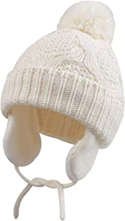 Infant Baby Boys Girls Winter Hat with Earflaps Toddler Kids Pompom Knit Beanie Cap with Warm Fleece Lining for 0-3T