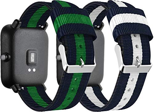 Simpleas compatible with Amazfit Pace/Stratos/Stratos + Watch Straps, Nylon Sport Loop Band Wristband Replacement (22mm, 2PCS E)
