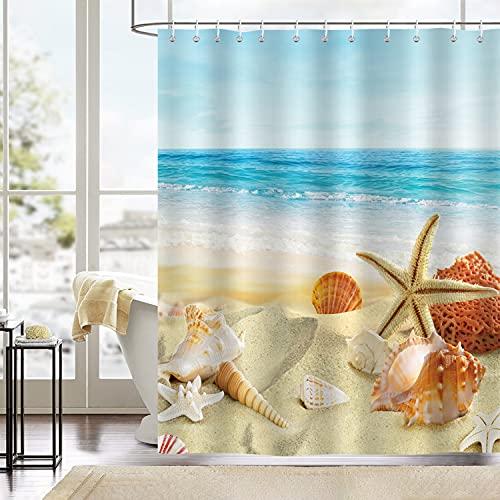 Bonhause Cortina de Ducha Playa Estrella de Mar Conchas Oceano Cortina de Baño de Poliéster Impermeable Antimoho Cortina Ducha con 12 Ganchos 180 x 180 cm