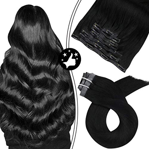 Moresoo Extension a Clip Cheveux Naturel Humain 22 Pouces #1 Jet Black PU Clip Hair Extensions Vrais Cheveux Humains 100 Grammes 7 Pièces par Paquet